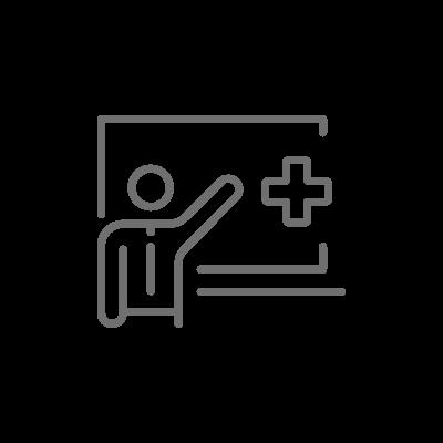 칠판에 글을 쓰고 강의를 진행하는 연사의 모습 아이콘